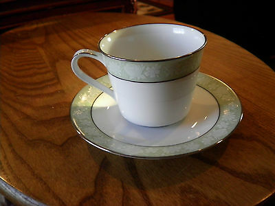 Noritake Vienne 6885 Fine China Footed Cup and Saucer Set Platinum Trim
