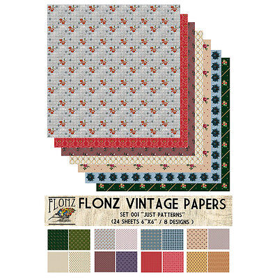 "Paper 24sh 6""x6"" # Vintage Patterns # FLONZ Craft Scrapbooking 001"