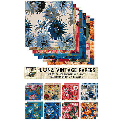 "Paper 24sh 6""x6"" # Art Deco Flowers Vintage # FLONZ Craft Scrapbooking 002"