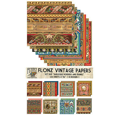 "Paper 24sh 6""x6"" # Baroque Antique Vintage Border # FLONZ Craft Scrapbooking 009"