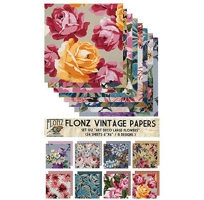 "Paper 24sh 6""x6"" # Large Flowers Art Deco Vintage # FLONZ Craft Scrapbooking 012"
