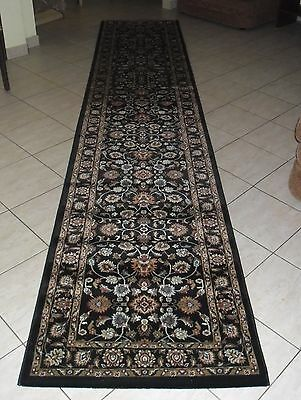 New Black Persian Design 1000,000 Knots/sqm Floor Hallway Runner Rug 80X400Cm