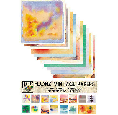 "Paper 24sh 6""x6"" # Abstract Watercolor Vintage # FLONZ Craft Scrapbooking 023"