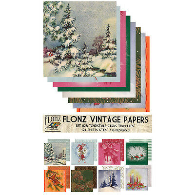 "Paper 24sh 6""x6"" # Vintage Christmas Cards Template FLONZ Craft Scrapbooking 028"