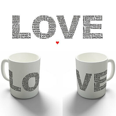 Love Word Collage Letters Quote Coffee Mug Tea Cup Birthday Christmas Gift