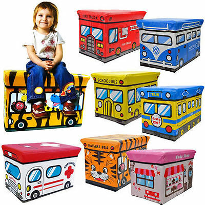 New Kids Storage Box Seat Children Pop Up Folding Toy Chest Clothes Toys Books