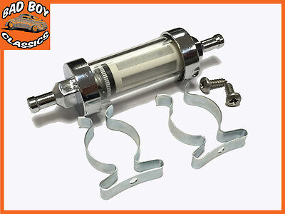 "Chrome & Glass Fuel Petrol Diesel Inline Filter 1/4"" 6mm With Fitting Kit"