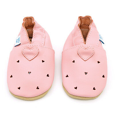 Dotty Fish Soft Leather Baby & Toddler Shoes - Pink Hearts - 0-6 to 12-18 Months