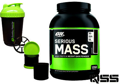 On Optimum Nutrition Serious Mass Weight Gainer Protein Shake 12Lbs / 6Lbs +Smar