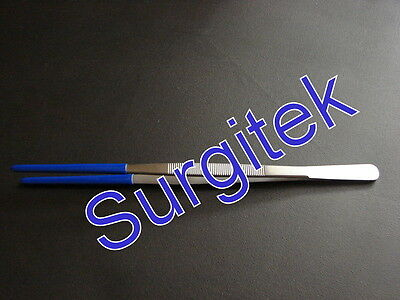 """LONG REACH TWEEZERS WITH PLASTIC COATING 300mm (12"""") LONG - STAINLESS STEEL"""