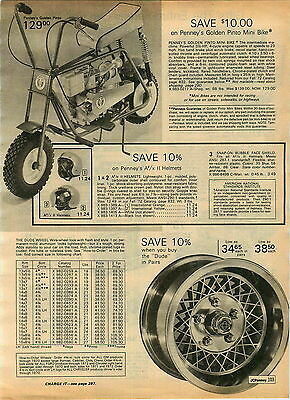 1972 ADVERTISEMENT Golden Pony Mini Bike J C Penney's