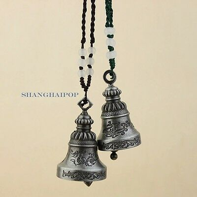 Pair of Alloy Bell Car Hanging Charm Wind Chime Decor Chinese Feng Shui Lucky