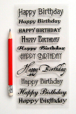 """Clear Stamps Lot (4""""x7"""") Happy Birthday Greetings Wishes Words FLONZ Rubber 804"""