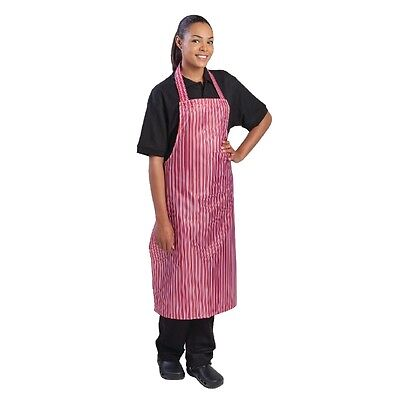 Whites Chefs Apparel Waterproof Bib Apron Red Stripe Kitchen Catering Cooking