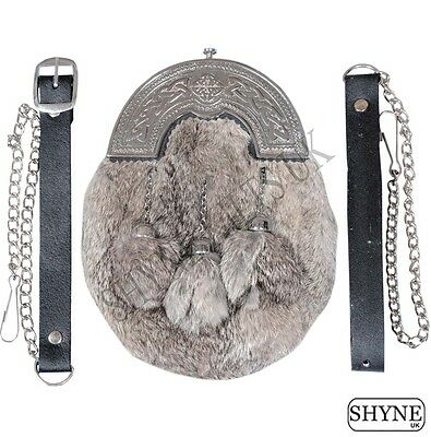Grey Rabbit Fur Full Dress Sporran With Chrome Finish Cantle 3 Grey Tassels