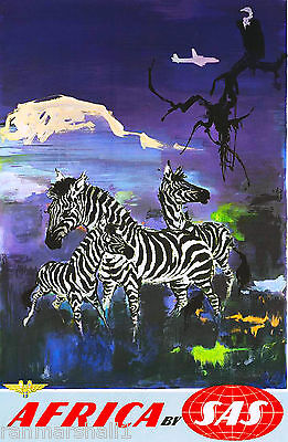 African Zebra by Airplane Africa Vintage Travel Art Poster Advertisement