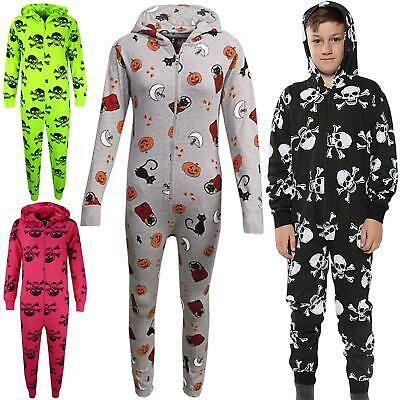 Kids Girls Boys Skull & Cross Bones A2Z Onesie One Piece Halloween Costume 5-13Y