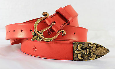 Medieval Renaissance Red Leather Fleur de Lis War Belt -- sca/larp/french/knight