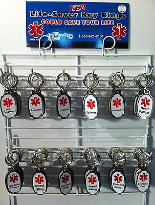 New Stainless Steel Life-Saver Medical Alert Key Chain 144 Pieces on Rack