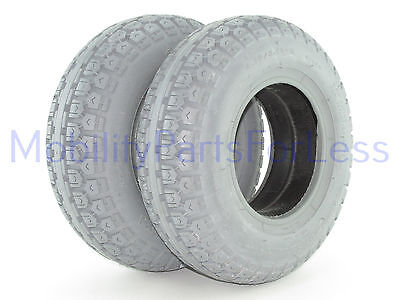 Pair of 4.10/3.50-6 Solid Foam-Filled Tires - Street Tread - Primo Power