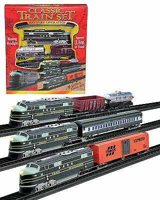 Train Set 3 With Tracks Battery Operated Classic Train Set Retro Design Trains