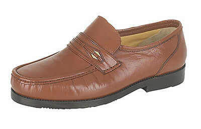 Mens Leather Wide Fit Slip On Moccasin Loafer Shoes Size 6 7 8 9 10 11 12 Brown