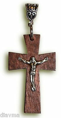 Jesus Christ Christian God Crucifix Wooden Cross - Charm Pendant
