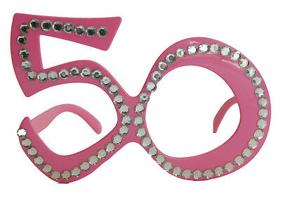 50Th Birthday Age Spectacles Glasses Specs - Pink