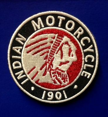 """INDIAN MOTORCYCLE EMBROIDERED CHIEF PATCH ~ 3"""" DIA ~ IRON/SEW PRISTINE!"""