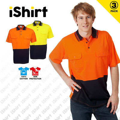 3 X Hi Vis Polo Shirt 100% Cotton Work Shirt Two Pockets Safety Workwear S/S