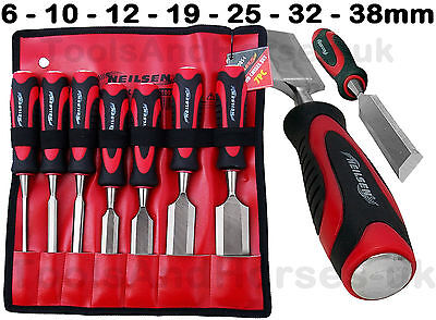 Wood Chisel Set 7pc Carpenters Woodworking Chisels Set 6-10-12-19-25-32-38mm
