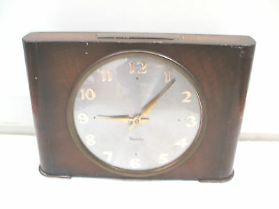 "Westclox Winding Movement Wood Case Mantle Clock 6.5""H 9.5""W"