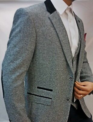 Men's Designer Marc Darcy Herringbone Vintage Suit Blazer Formal Smart Casual