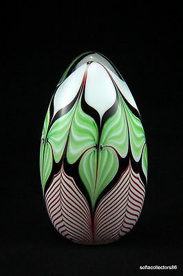 Lee Hudin 1979 Flower & Pulled Feather Tall Egg Paperweight-(Pre Orient & Flume)