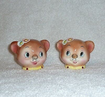 Vintage Anthropomorphic Enesco PY Lil Bear Salt and Pepper Shakers JAPAN 1950s