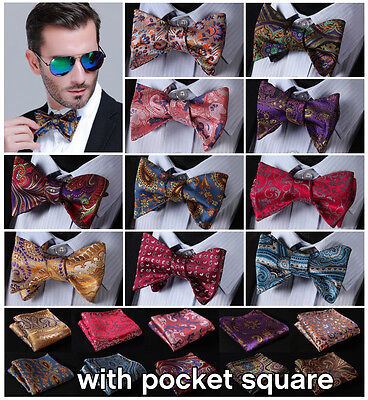 Classic Paisley Floral Party Mens Woven Silk Self Bow Tie Pocket Square Set #B4