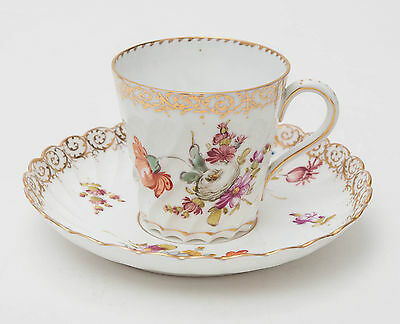 Dresden Antique Hand Painted Fluted Coffee Cup & Saucer - Floral Sprays