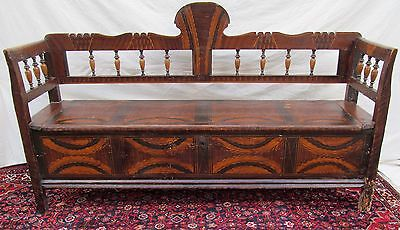 Superb Early 19Th Century Yellow Pine Settle Bench-Exceptional Specimen-Look!