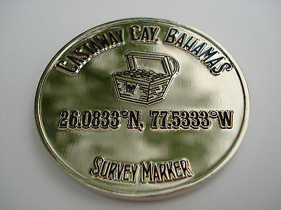 Geocaching Coin Survey Marker Disney Castaway Cay, Bahamas Pirate Treasure Chest