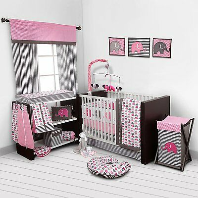 Bacati Pink Elephants 10pc Baby Cot Set 100% COTTON Quilt Bumper Musical Mobile