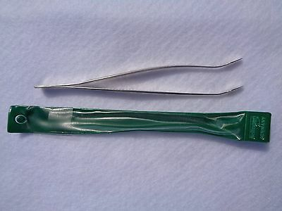 "Showgard Stamp Tongs #907 Angled Tip, 6"" Professional Length, Green Plastic Case"