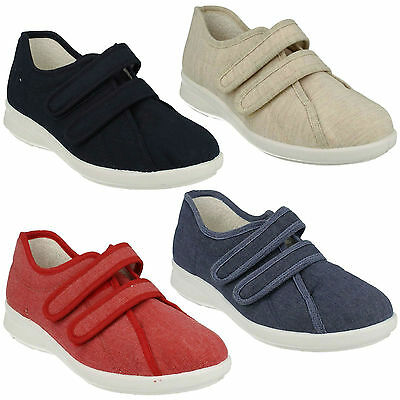Celene Ladies Db Easy B Double Riptape Strap Wide Fit Casual Flat Canvas Shoes