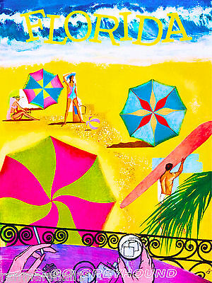Florida by Bus Beach Sun United States Vintage Travel Advertisement Art Poster