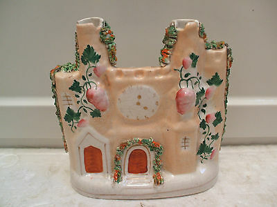 "Victorian Staffordshire Flat back Pottery In Shape of Castle 7.5""H 7.5""W 3""D"