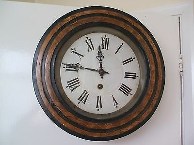"Victorian Circular Oak Inlaid Timepiece Wall Clock With Enamelled Dial 15""D"