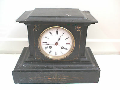 "Victorian French Marble Case Striking On Bell Mantle Clock 11""H 8""W 6""D"