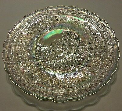 Vintage Imperial Iridescent Glass Footed Country  Scene Landscape Cabin Plate