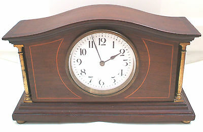 "Swiss Made Mahogany Inlaid Case Platform Movement Timepiece Mantel Clock 10""L"