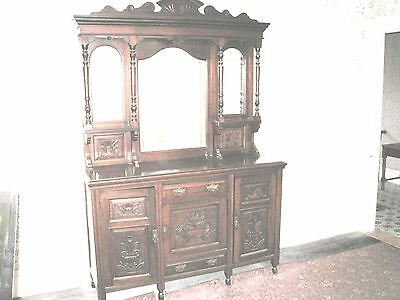 Solid Carved Oak Dresser Sideboard 3 Cupboard & Drawer With 3 Mirrors c1900