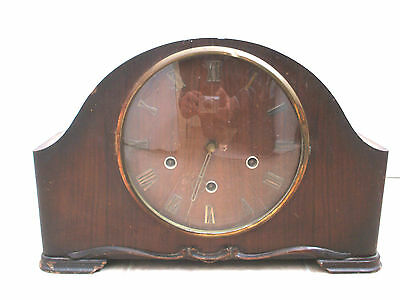 "Smiths Mahogany Case Westminster Chimes Mantle Clock 9.25""H 14.5""W 4.5""D"